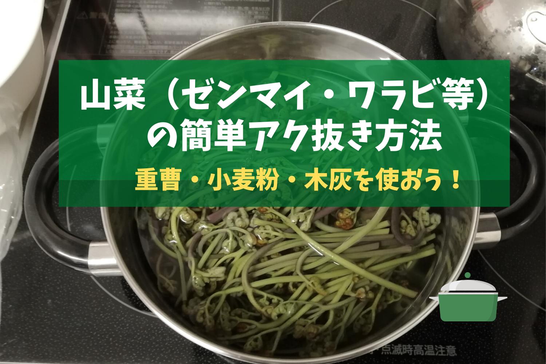 山菜(ゼンマイ・ワラビ等)の簡単アク抜き方法。重曹・小麦粉・木灰でサクッと実践!